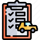 car, clipboard, repair, repairment, workshop icon