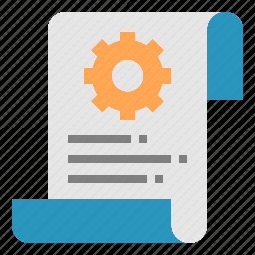 check, document, gear, list, service icon