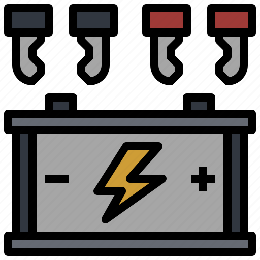 battery, car, electricity, electronics, power, starter, transport icon