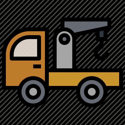 crane, garage, mechanic, transport, transportation, truck, trucks icon