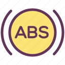 abs, alarm, brakes, service, sign, signal, warning icon
