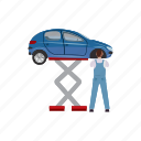 auto, automobile, car, cartoon, lift, mechanic, vehicle icon