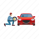 auto, car, cartoon, mechanic, repair, service, wheel icon