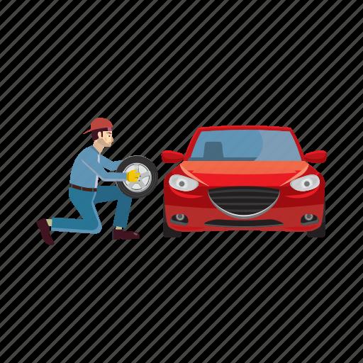 auto, car, cartoon, mechanic, repair, service, wheel icon