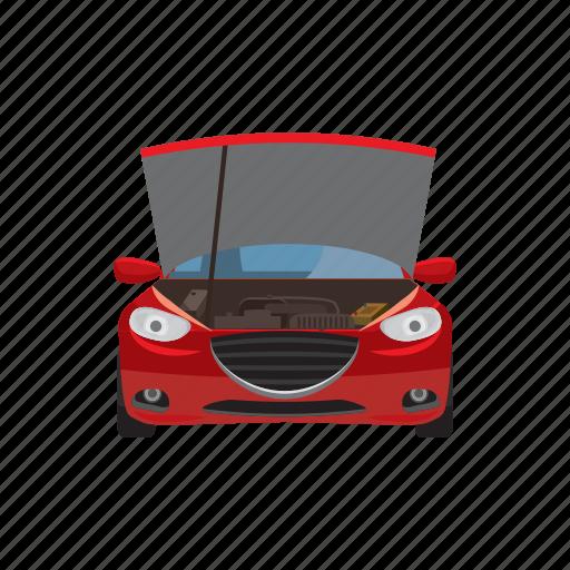 car, cartoon, hoist, maintenance, repair, service, transport icon