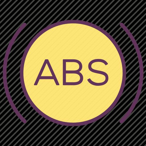abs, alarm, brakes, service, sign, signal, warning icon