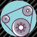 automobile, belt, camshaft, cogwheel, gear, parts, timing icon