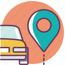 car, location, navigation, parking, pin, service icon