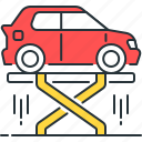 car, car elevator, car lift, car lifter, lifter, vehicle lift icon