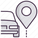 car, location, navigation, parking, pin, servive icon