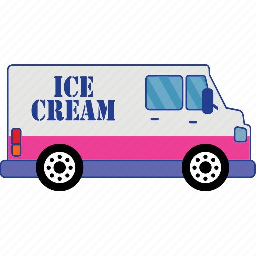 car, ice cream, road, transport, vehicle icon