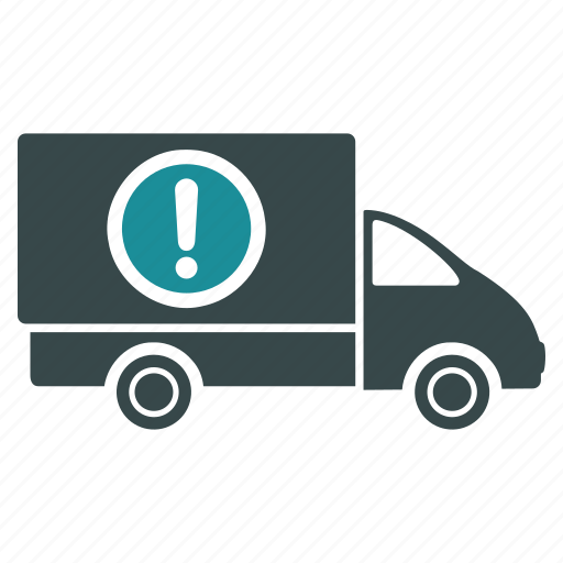 alert, caution, dangerous, delivery, truck, van, warning icon