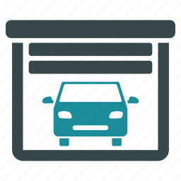 car, depot, garage door, hangar, open, storage, warehouse icon
