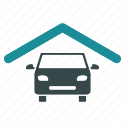 building, car, construction, garage, home, house, roof icon