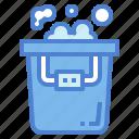 bubbles, bucket, pail, wash