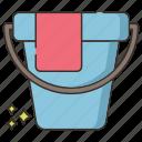 bucket, pail, water