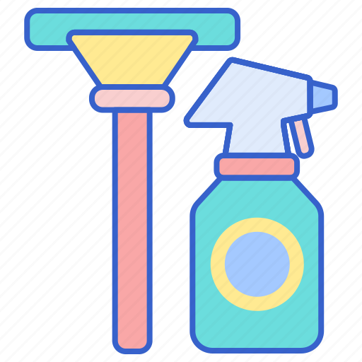 cleaner, glass, squeegee icon