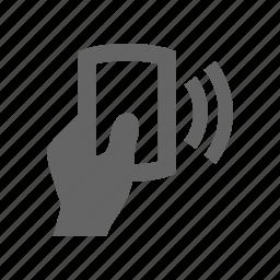 card, hand, radio icon