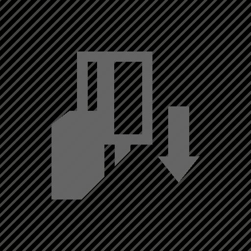 arrow, card, instruction icon