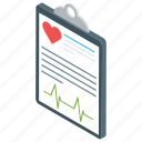 health test, heart report, medical document, medical paper, medical report icon