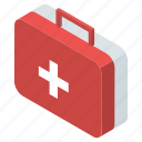 first aid kit, healthcare kit, medical aid, medical emergency, medicine case icon