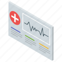 cardiology concept, ecg report, healthcare report, heartbeat report, medical report icon