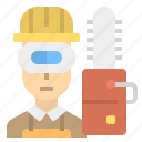 career, carpenter, sawing, technician, wood icon