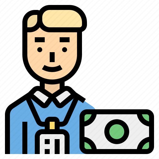 authorities, bank, career, man, officer icon