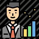 career, chart, marketing, men, statistician icon