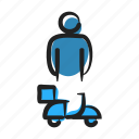 bike, boy, concierge, courier, errand, man, pizza icon