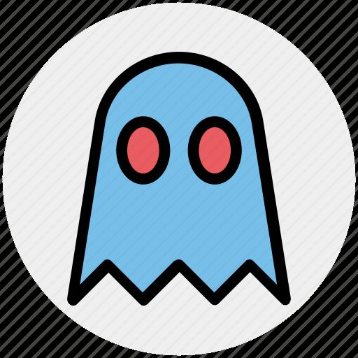 creepy, dreadful, ghost, halloween, pac man, spooky icon