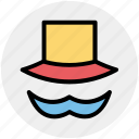 hat, mustache, mustache and hat, mustache with hat icon