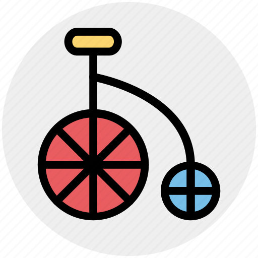 Antique bicycle, bicycle, big bicycle, old fashioned bicycle, penny farthing icon - Download on Iconfinder