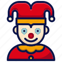 amusement, carnival, circus, clown, jester, joker, parade icon