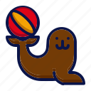 amusement, animal, attractions, carnival, circus, parade, seals icon