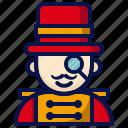 amusement, carnival, circus, circus tamer, magician, parade, performer icon