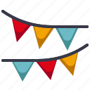 amusement, carnival, celebration, circus, flag decoration, parade, party icon