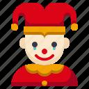 amusement, carnival, circus, clown, jester, joker, parade
