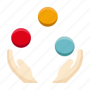amusement, carnival, circus, juggling, juggling balls, parade, show icon