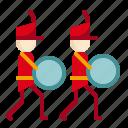 amusement, bass drum, carnival, circus, marching band, music parade, parade icon