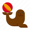 amusement, animal, attractions, carnival, circus, parade, seals icon