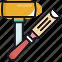 carpenter, chisel, equipment, tool, wood icon