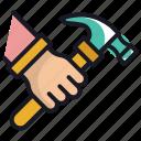 carpenter, hammer, labour, man, worker