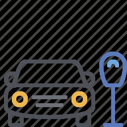 car, car park, fine, parking meter, street parking, ticket, time limit icon