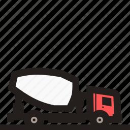 cement truck, concrete mixer, concrete transport, mixer truck, truck, truck mixer icon