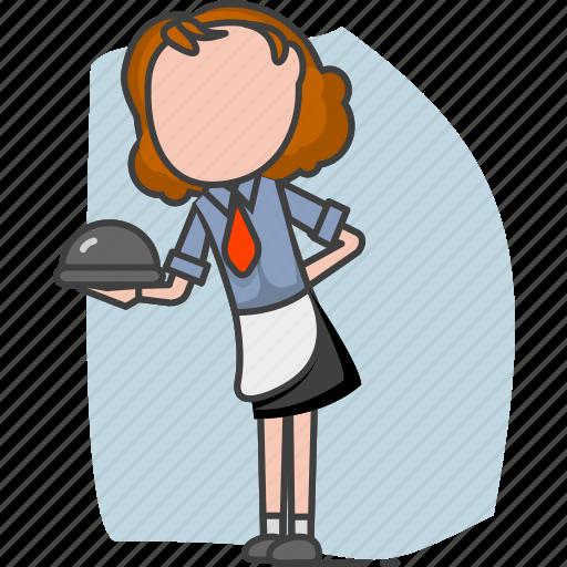 attendant, service, staff, stew, steward, waiter icon