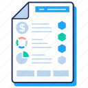 business paper, business report, market research, market survey, stats report icon