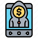 cybercrime, hacker, security, theft, thread icon