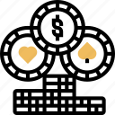 token, chip, casino, play, fortune icon