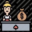 payout, money, exchange, cashier, winning